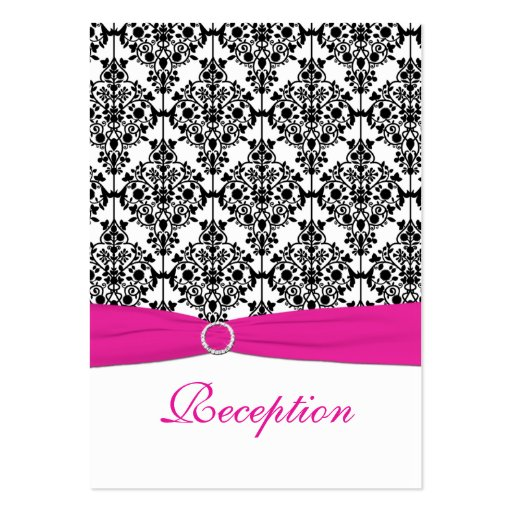 Pink, White and Black Damask Reception Card Business Card Templates