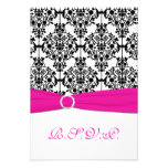 Pink, White and Black Damask Reply Card 2 Personalized Invitations