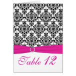 Pink, White and Black Damask Table Number Card Cards