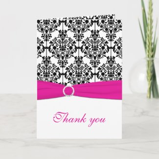 Pink, White and Black Damask Thank You Card card