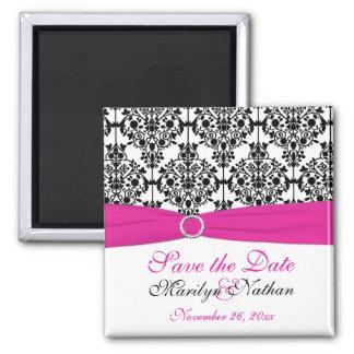 Pink, White, and Black Damask Wedding Favor Magnet