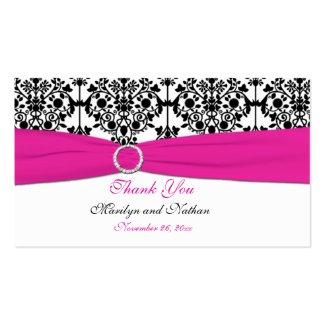Pink, White and Black Damask Wedding Favor Tag profilecard