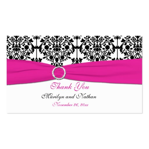 Pink, White and Black Damask Wedding Favor Tag Business Card