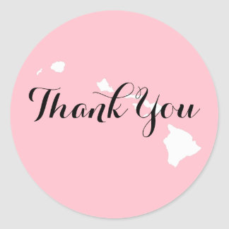Pink White and Black Hawaii Wedding Thank You Classic Round Sticker