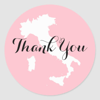 Thank You For The Wedding Gift In Italian : Pink White and Black Italy Wedding Thank You Classic Round Sticker