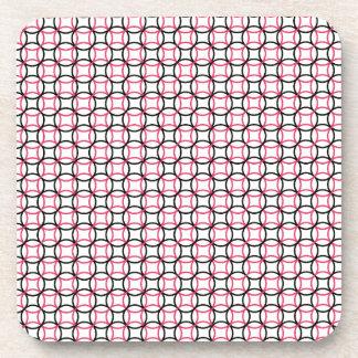 Pink White and Black Modern Circle Pattern Drink Coaster