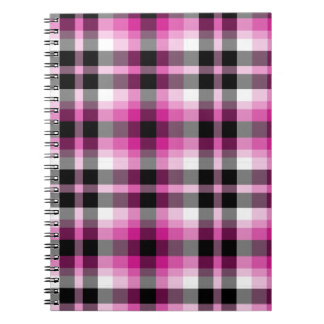 Pink White and Black Plaid Spiral Notebook