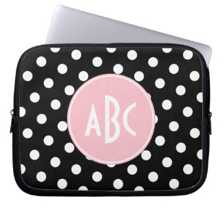 Pink White and Black Polka Dot Monogram Computer Sleeve