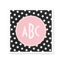 Pink White and Black Polka Dot Monogram Napkin