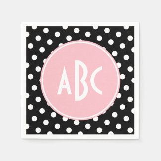 Pink White and Black Polka Dot Monogram Napkin