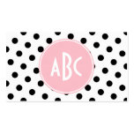 Pink White and Black Polka Dots Monogram Double-Sided Standard Business Cards (Pack Of 100)