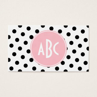 Pink White and Black Polka Dots Monogram Business Card
