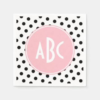 Pink White and Black Polka Dots Monogram Napkin