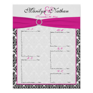 Pink, White, and Black Reception Seating Chart