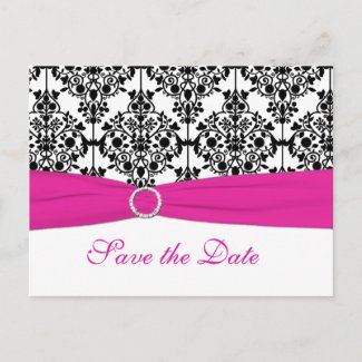Pink, White, and Black Save the Date Postcard postcard