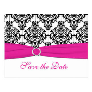 Pink, White, and Black Save the Date Postcard