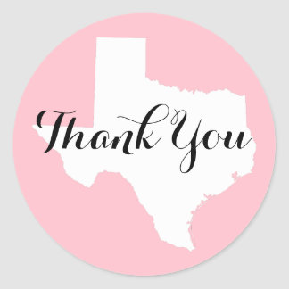 Pink White and Black Texas Wedding Thank You Classic Round Sticker