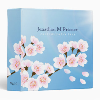 Pink White And Blue Cherry Blossom Binder