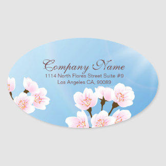 Pink White And Blue Cherry Blossom Oval Sticker