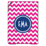 Pink White And Blue Monogram Chevron Pattern Cover For iPad Air