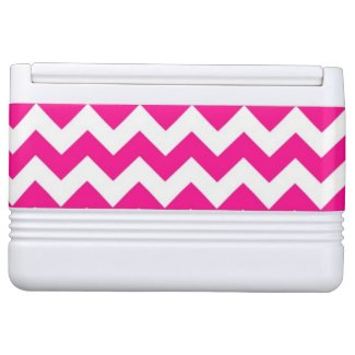 Pink White And Blue Monogram Chevron Pattern Igloo Cooler