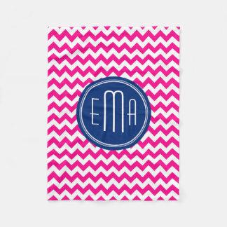 Pink White And Blue Monogram Chevron Pattern Fleece Blanket