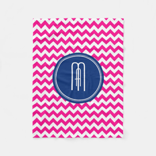 Pink White And Blue Monogram Chevron Pattern Fleece Blanket