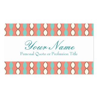 Pink White and Blue Retro 70's Pattern Business Cards