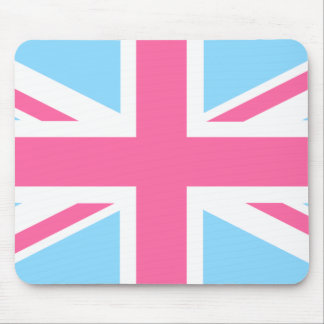 Pink White and Blue Union Jack UK Flag Mouse Pad