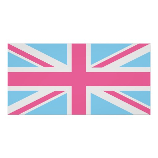 Pink White and Blue Union Jack UK Flag Poster