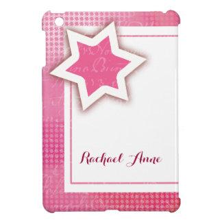 Pink, white and cream stars iPad mini cover