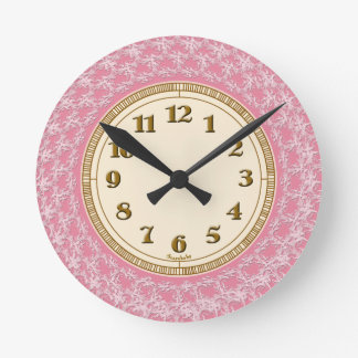 Pink, White and Gold Lacy Pattern Round Clock
