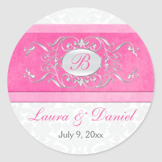 "Pink, White, and Gray 1.5"" Round Wedding Sticker"