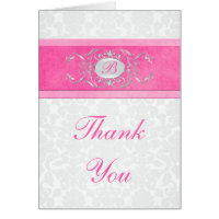 Pink, White, and Gray Damask Thank You Card