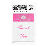 Pink, White, and Gray Damask Thank You Postage