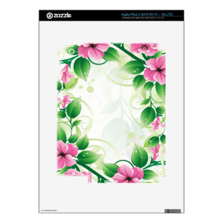 Pink White And Green Spring Flowers Illustration Skins For iPad 3