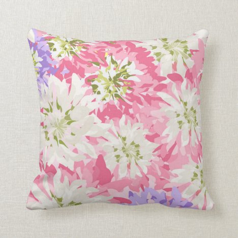 Pink, white and mauve floral throw pillow