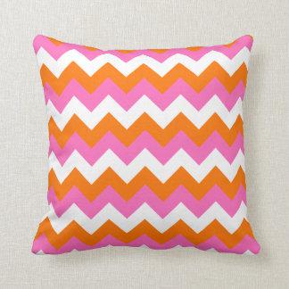Pink White and Orange Zigzag Pillows