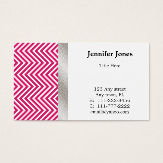 Pink, White, and Silver Chevron Business Card