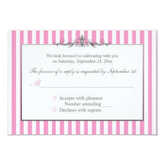 Pink, White, and Silver Striped Reply Card
