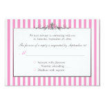 Pink, White, and Silver Striped Reply Card Personalized Invite