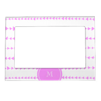 Pink White Aztec Arrows Monogram Magnetic Photo Frame