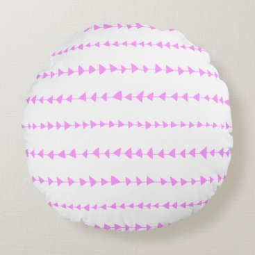 Aztec Themed Pink White Aztec Arrows Pattern Round Pillow