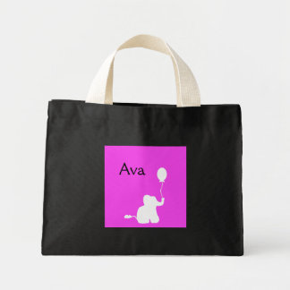 Pink white baby elephant balloon outline tote bag