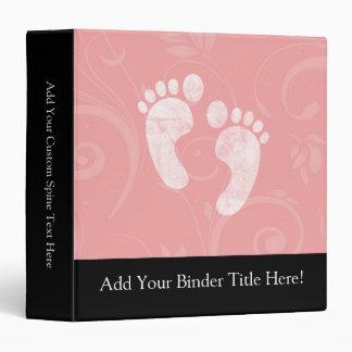 Pink/White Baby Footprints 3 Ring Binder