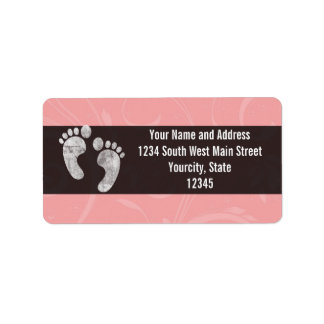 Pink/White Baby Footprints Address Label