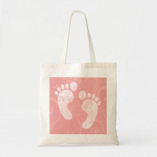 Pink/White Baby Footprints Budget Tote Bag