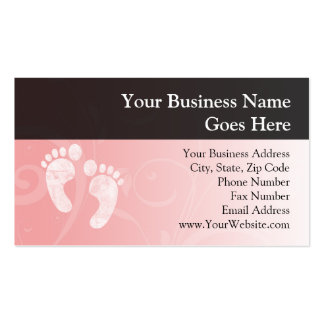 Pink/White Baby Footprints Business Card Template