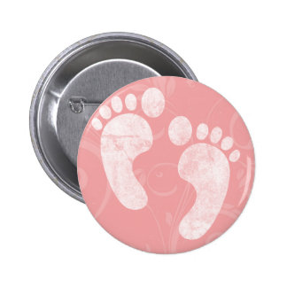 Pink/White Baby Footprints Buttons