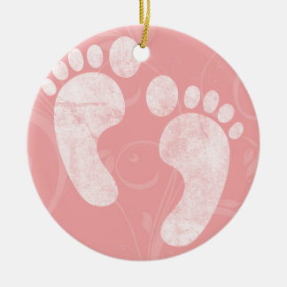 Pink/White Baby Footprints Ceramic Ornament